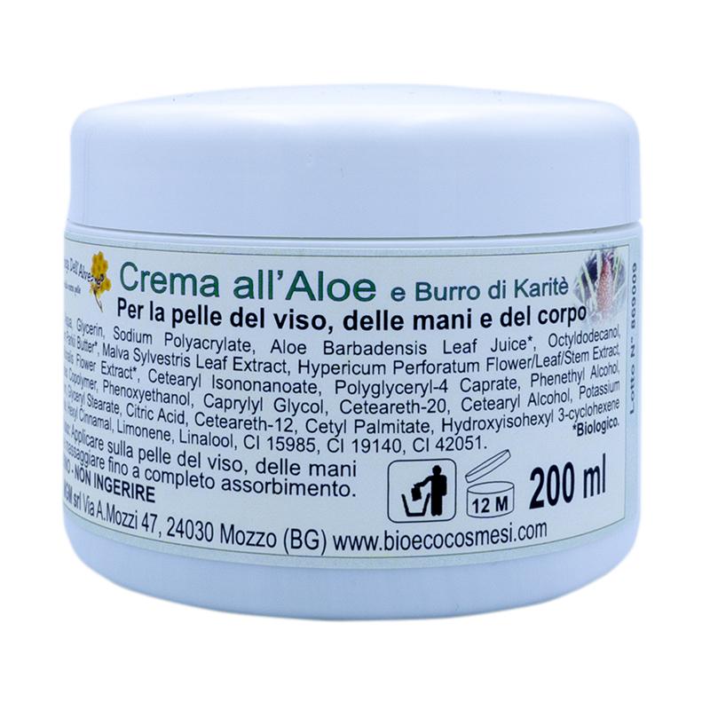 Crema Aloe e burro di kerite per la pelle di viso mani e corpo